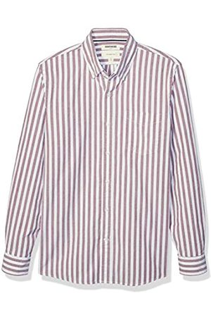 Goodthreads Slim-Fit Long-Sleeve Fashion Stripe Oxford Shirt Button-Down-Shirts, Red Wide, Large Tall