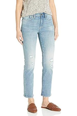 Goodthreads Mid-Rise Slim Straight Jeans, Vintage Destructed, 27