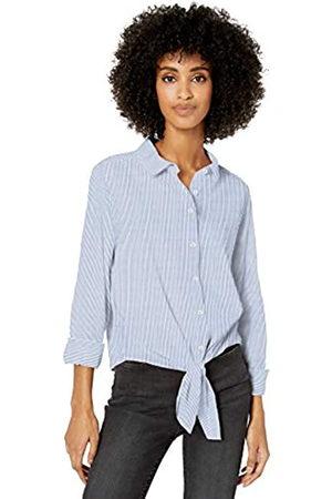 Goodthreads Donna Vestiti casual - Lightweight Poplin Tie-Front Shirt Dress-Shirts, White/Blue Stripe, US XL