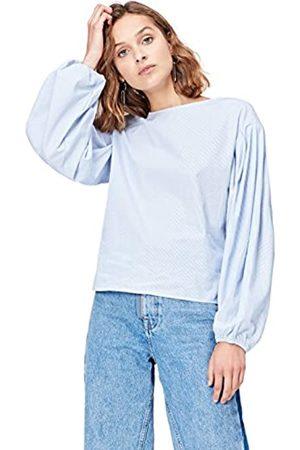 FIND Marchio Amazon - T-Shirt Girocollo a Manica Lunga Donna, Blue , 48, Label: XL