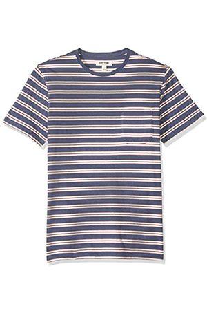 Goodthreads Marchio Amazon - , t-shirt in jersey da uomo, a maniche corte, effetto scamosciato, girocollo, con taschino, Denim Retro Stripe, US M Tall