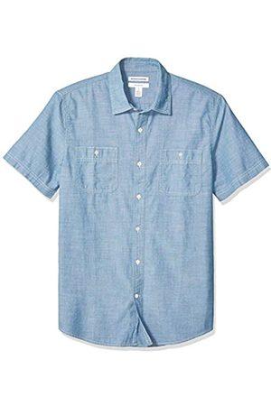 Amazon Camicia da uomo a maniche corte in chambray, aderente, medio, US XS