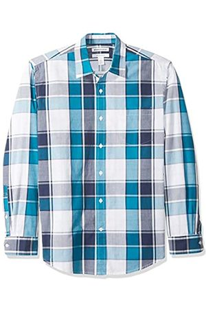 Amazon Regular-Fit Long-Sleeve Plaid Shirt Camicia Che Si abbottona, Teal/Navy Large, US L
