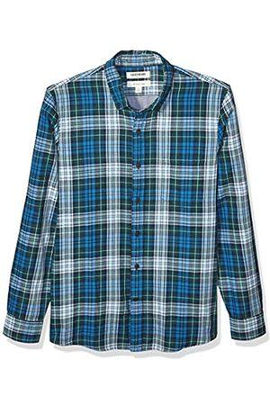 Goodthreads Uomo Denim - Marchio Amazon - , camicia in denim da uomo, vestibilità slim, a maniche lunghe, double-face, Sea Blue Green Tartan With Chambray, US XS
