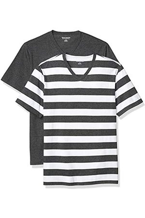 Amazon 2-Pack Slim-Fit V-Neck T-Shirt Fashion-t-Shirts, Charcoal Heather And White Rugby Stripe/Charcoal Heather, US