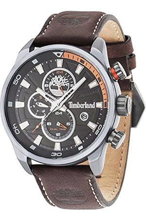 Timberland Henniker II 14816JLU/02 A, orologio al quarzo con quadrante analogico nero e cinturino in pelle marrone scuro, da uomo