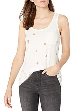 Goodthreads Vintage Cotton Pocket Tank Dress-Shirts, White Scattered Star Print, US S