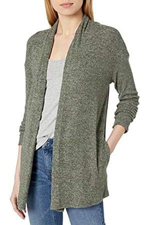Daily Ritual Accogliente Maglia a Coste Drappeggiato Anteriore Cardigan Maglione Sweaters, Olive Marl, US S