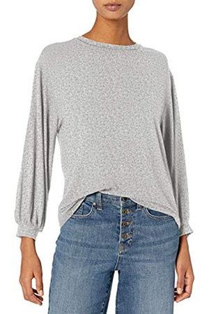 Daily Ritual Rayon Spandex Wide Rib Blouson-Sleeve Felpa Athletic-Shirts, Grigio Erica Chiaro, US S