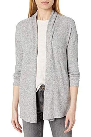 Daily Ritual Accogliente Maglia a Coste Drappeggiato Anteriore Cardigan Maglione Sweaters, Heather Grey Marl, US S