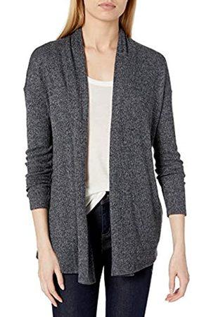 Daily Ritual Accogliente Maglia a Coste Drappeggiato Anteriore Cardigan Maglione Sweaters, Black Marl, US M
