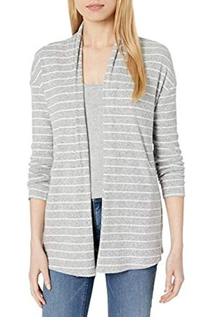 Daily Ritual Donna Cardigan - Accogliente Maglia a Coste Drappeggiato Anteriore Cardigan Maglione Sweaters, Heather Grey Marl/White Stripe, US S