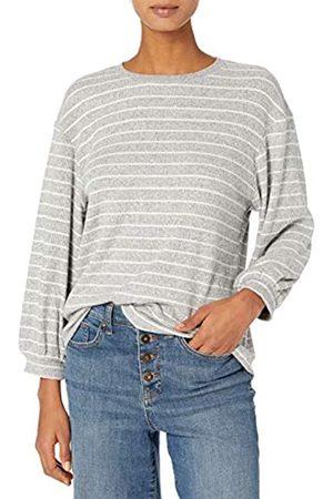 Daily Ritual Cozy Knit Rib Blouson-Sleeve Felpa Athletic-Shirts, Heather Grey Marl/White Stripe, US