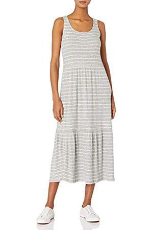 Daily Ritual Cozy Knit-Vestito da Canotta a Coste Dresses, Heather Grey Marl/White Stripe, US S