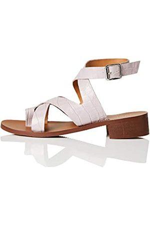 FIND FIND Crossover Block Heel Leather Sandali a Punta Aperta, , 36 EU