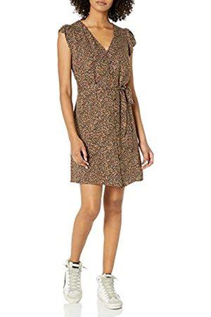Goodthreads Fluid Twill Tulip Sleeve Tie-Waist Dress Dresses, Animal Print, US