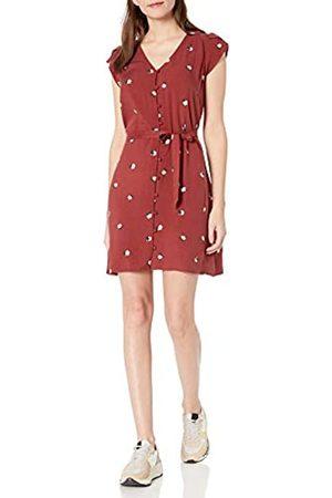Goodthreads Fluid Twill Tulip Sleeve Tie-Waist Dress Dresses, Russet Floral, US XL