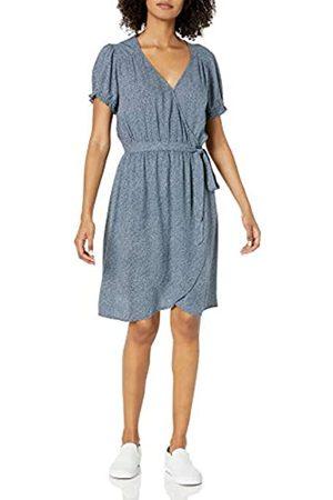Goodthreads Donna Vestiti stampati - Abito Avvolgente in Twill Fluido Dresses, Indaco Floreale, US L