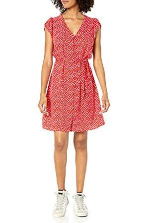 Goodthreads Fluid Twill Tulip Sleeve Tie-Waist Dress Dresses, Red Mini Daisy Print, US L