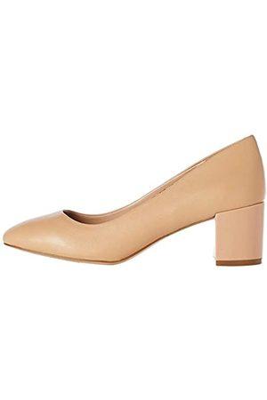 FIND Round Toe Block Heel Leather Court Scarpe con Tacco, ), 37 EU