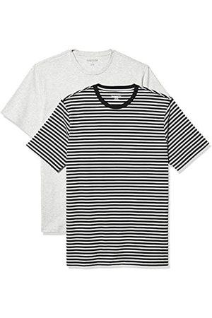 Amazon 2-Pack Slim-Fit Crewneck T-Shirt Fashion-t-Shirts, Black-Light Heather Grey Stripe/Light Heather Grey, US M
