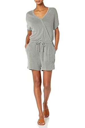 Daily Ritual Sandwashed Modal Blend Short-Sleeve Overlap Romper Shorts, Delana Venna, US XXL