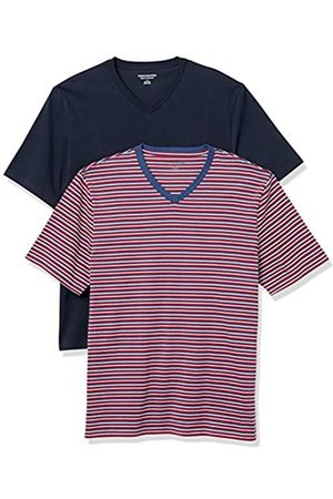 Amazon Essentials 2-Pack Loose-Fit V-Neck T-Shirt Fashion-t-Shirts, Navy/Red, US XXL