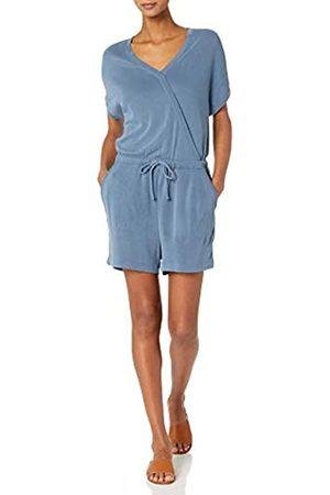 Daily Ritual Donna Pantaloncini - Sandwashed Modal Blend Short-Sleeve Overlap Romper Shorts, Washed Blue, US L