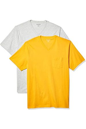 Amazon 2-Pack Loose-Fit V-Neck Pocket T-Shirt Fashion-t-Shirts, Mango/Light Heather Grey, US M