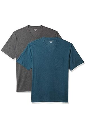 Amazon 2-Pack Loose-Fit V-Neck Pocket T-Shirt Fashion-t-Shirts, Teal Heather/Charcoal Heather, US