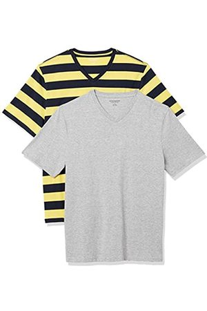 Amazon 2-Pack Loose-Fit V-Neck T-Shirt Fashion-t-Shirts, Yellow And Navy Rugby Stripe/Grey Heather, US