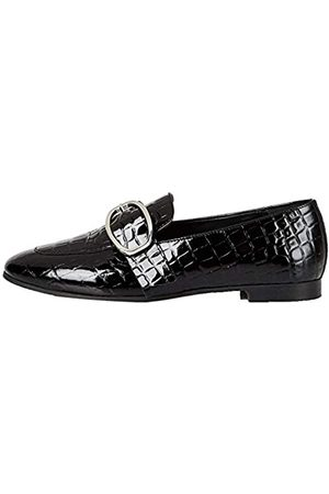 FIND Marchio Amazon - Large Buckle Leather Loafer Mocassini, Black), 40 EU