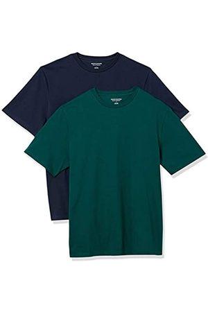 Amazon 2-Pack Loose-Fit Crewneck T-Shirt Fashion-t-Shirts, Dark Green/Dark Navy, US