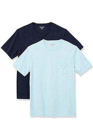 Amazon 2-Pack Slim-Fit Crewneck Pocket T-Shirt Fashion-t-Shirts, Light Blue/Dark Navy, US XXL