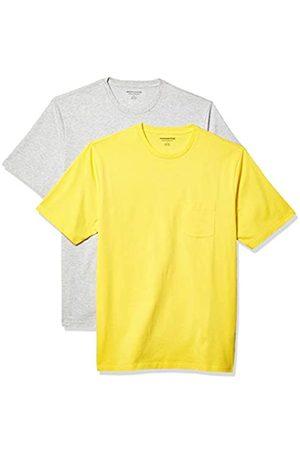 Amazon 2-Pack Loose-Fit Crewneck Pocket T-Shirt Fashion-t-Shirts, Yellow/Light Heather Grey, US M