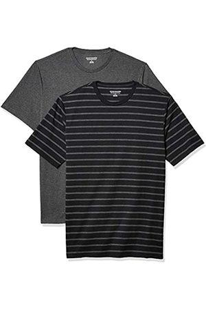 Amazon 2-Pack Slim-Fit Crewneck T-Shirt Fashion-t-Shirts, Black And Charcoal Brennan Stripe/Charcoal Heather, US M