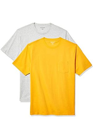 Amazon 2-Pack Loose-Fit Crewneck Pocket T-Shirt Fashion-t-Shirts, Mango/Light Heather Grey, US S