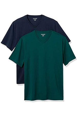 Amazon 2-Pack Loose-Fit V-Neck T-Shirt Fashion-t-Shirts, Navy/Red, US M