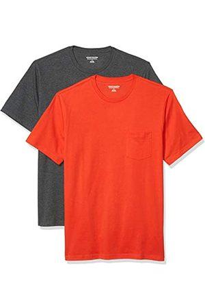 Amazon 2-Pack Slim-Fit Crewneck Pocket T-Shirt Fashion-t-Shirts, Bright Orange/Charcoal Heather Grey, US