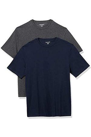 Amazon 2-Pack Loose-Fit Crewneck T-Shirt Fashion-t-Shirts, Dark Navy/Charcoal Heather Grey, US XXL