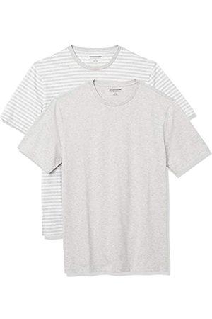 Amazon 2-Pack Slim-Fit Crewneck T-Shirt Fashion-t-Shirts, Light Heather Grey-White Stripe/Light Heather Grey, US M