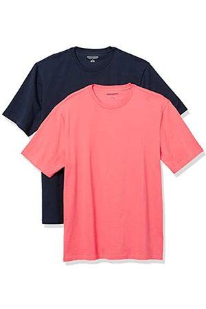 Amazon 2-Pack Loose-Fit Crewneck T-Shirt Fashion-t-Shirts, Coral/Dark Navy, US L