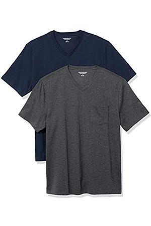 Amazon 2-Pack Loose-Fit V-Neck Pocket T-Shirt Fashion-t-Shirts, Dark Navy/Charcoal Heather Grey, US