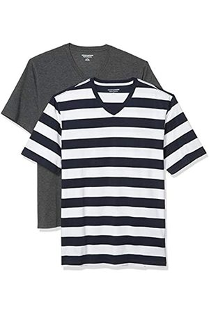 Amazon 2-Pack Loose-Fit V-Neck T-Shirt Fashion-t-Shirts, Navy Stripe/Charcoal Heather, US M