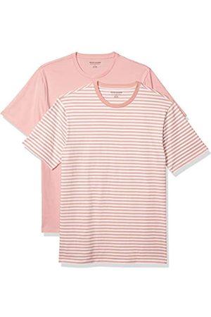 Amazon 2-Pack Slim-Fit Crewneck T-Shirt Fashion-t-Shirts, Pink-White Stripe/Pink, US