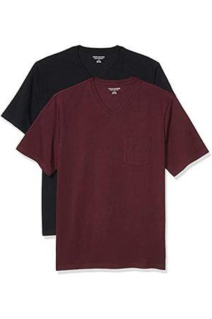 Amazon 2-Pack Loose-Fit V-Neck Pocket T-Shirt Fashion-t-Shirts, Burgundy/Black, US S