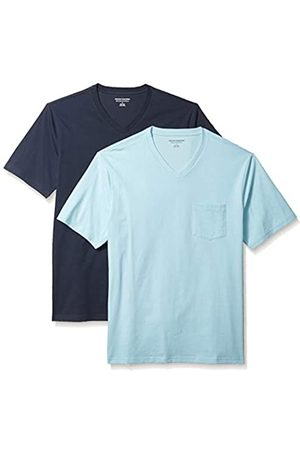 Amazon 2-Pack Loose-Fit V-Neck Pocket T-Shirt Fashion-t-Shirts, Light Blue/Dark Navy, US XXL