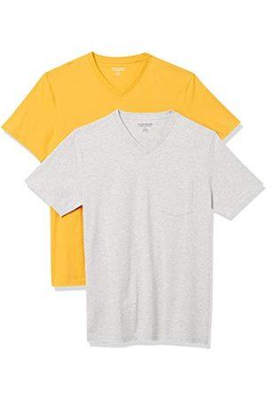 Amazon Confezione da 2 t-Shirt Slim Fit con Scollo a V Fashion-t-Shirts, Mango/ Chiaro, US