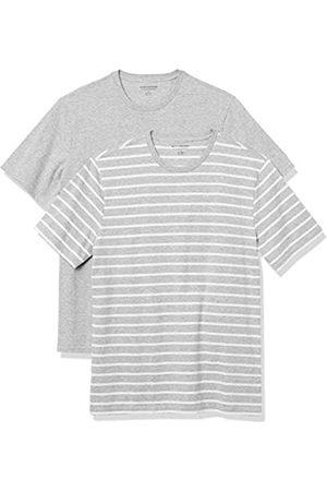 Amazon 2-Pack Slim-Fit Crewneck T-Shirt Fashion-t-Shirts, Grey Heather And White Brennan Stripe/Grey Heather, US