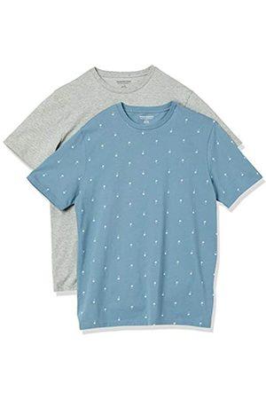 Amazon 2-Pack Slim-Fit Crewneck T-Shirt Fashion-t-Shirts, Palm Tree/Grey Heather, US